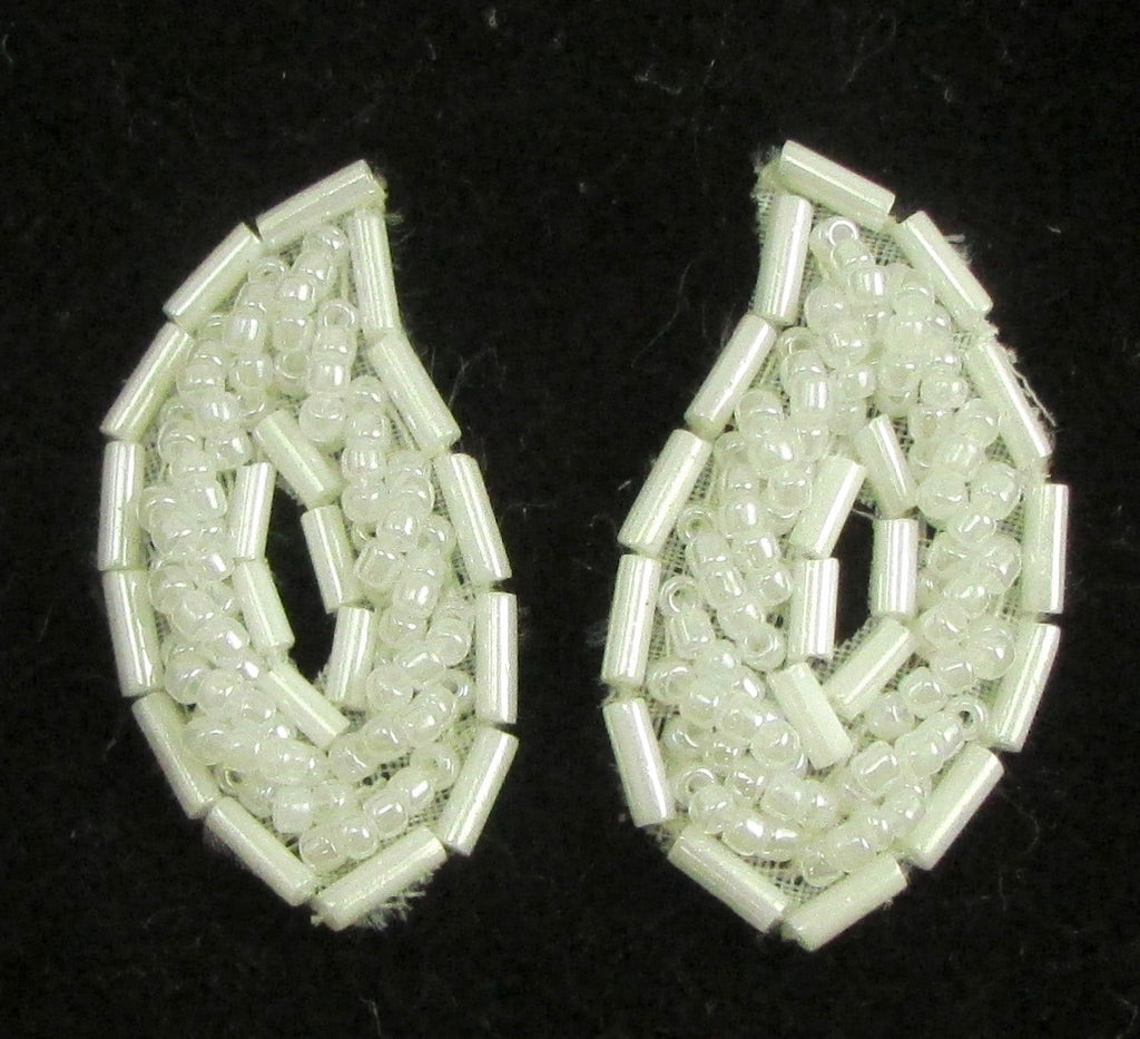 Leaf Pair with White Beads 1""