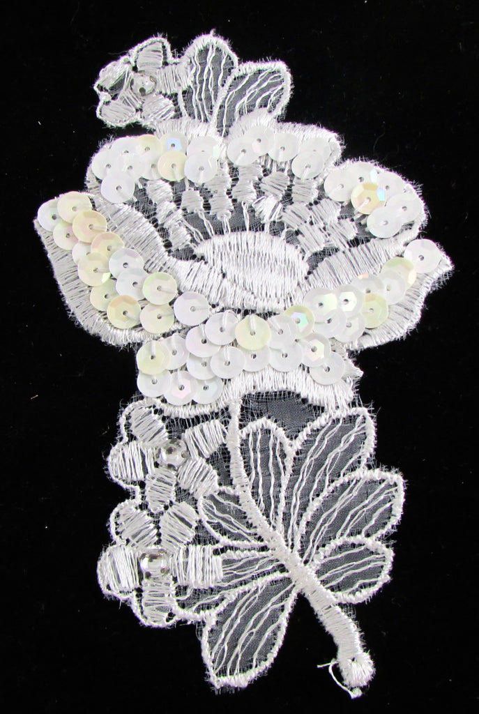 "Lace with rhinestones and white irredescent sequins  5 1/4"" x 3 1/4"""