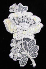"Load image into Gallery viewer, Lace with rhinestones and white irredescent sequins  5 1/4"" x 3 1/4"""