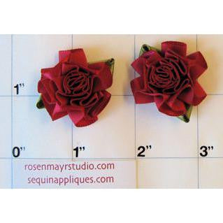 Flower Pair Red Satin Rose 1""