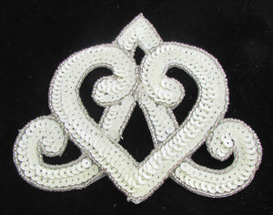 "Designer Motif with Wide  Crown Shaped White Sequins and Beads 4.5H"" x 5W"""