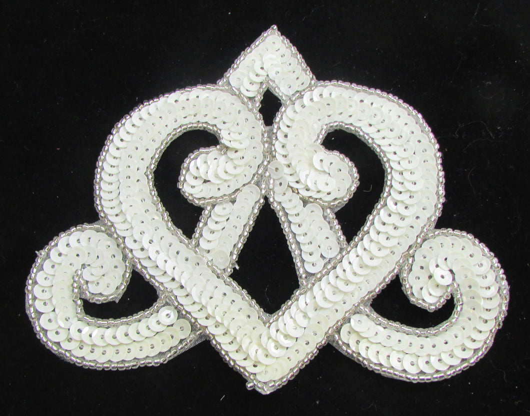 Designer Motif with Wide  Crown Shaped White Sequins and Beads 4.5H