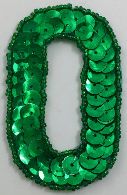 "Number 0 Zero with Green Sequins and Beads 2.5"" x 2"""