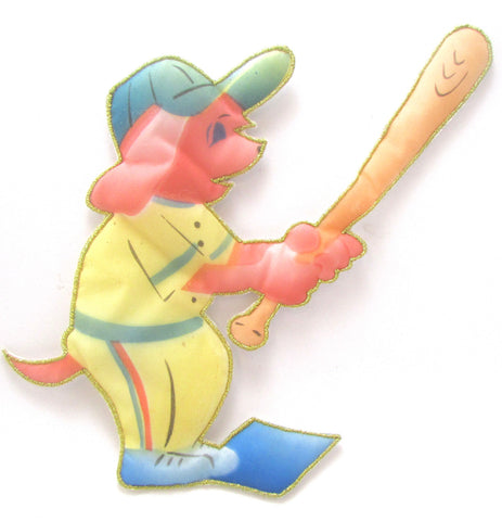 "Baseball Player with bat Puff Textured Applique 8"" x 5"""