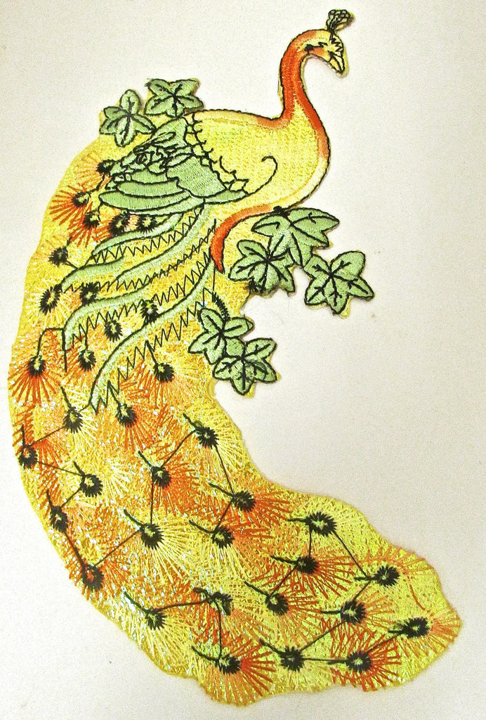 "Peacock Metallic Bright Colors Embroidered Iron-On 7"" x 5"""