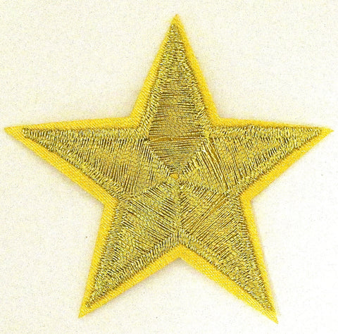 Gold Metallic Embroidered Iron-on Star 2""