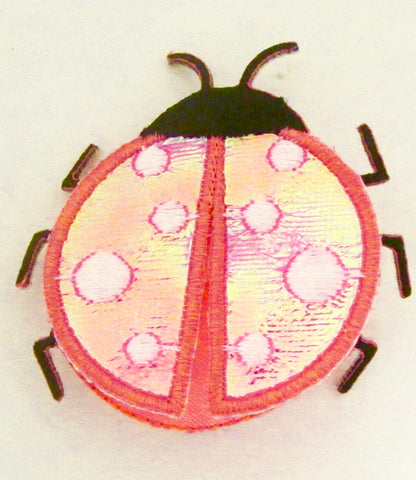 Lady Bug Double Pattern PInk Metallic 2""