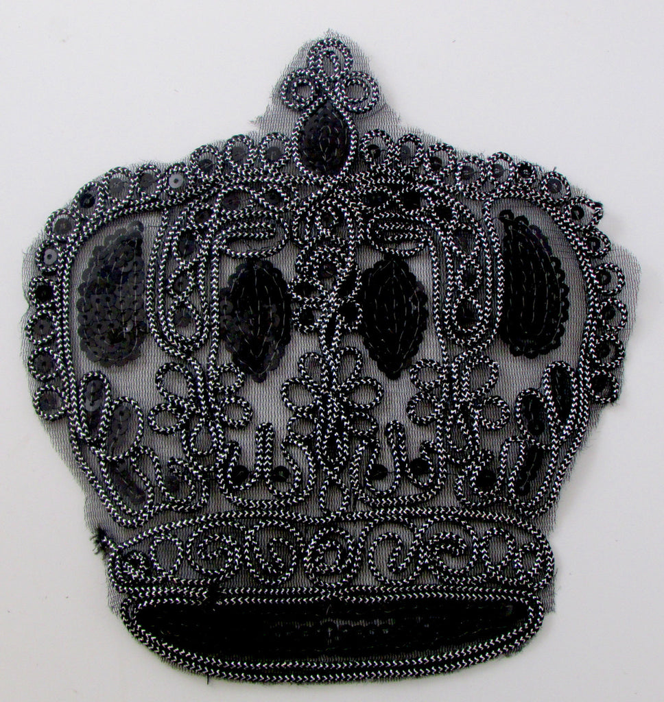 "Crown made with Metallic Black Thread and Sequins 8"" x 7"""