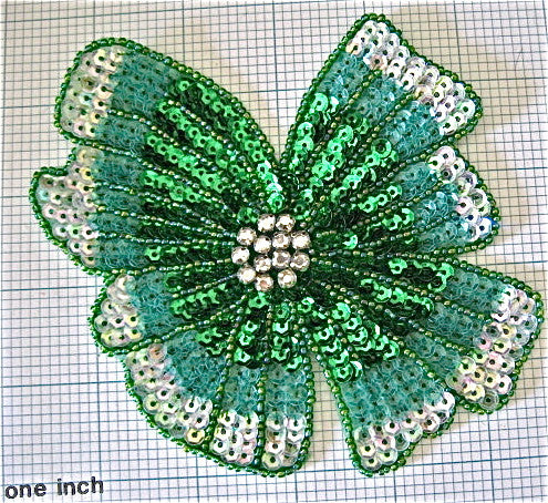 "Flower with Green Sequins Silver Beads 5"" x 6"""