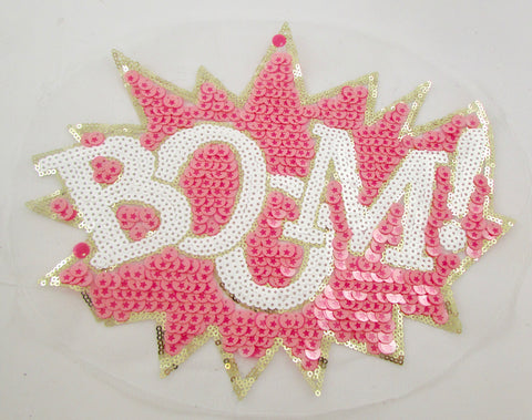 "BOOM Word with White Gold Pink Sequins 9"" x 11"""