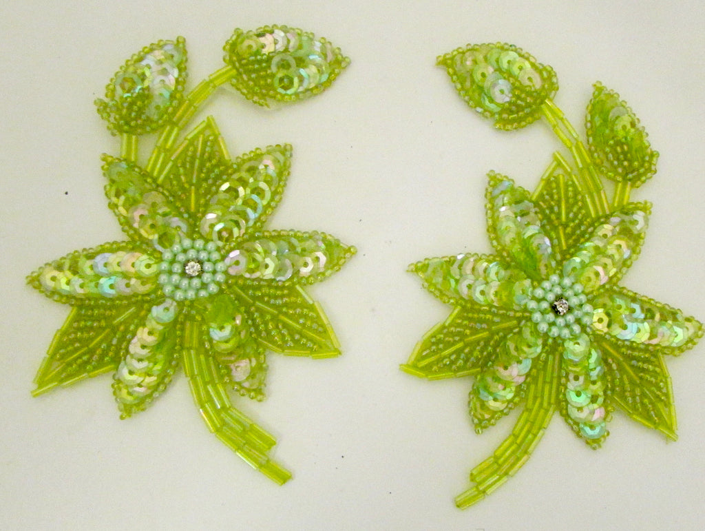 "Flower Pair with Lite Lime Green Iridescent Sequins and Beads and Rhinestone 5"" x 3"""