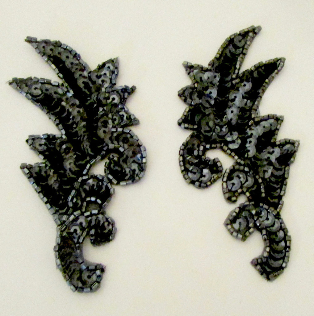 "Leaf Pair Gunmetal Sequins and Beads 4"" x 1.5"""