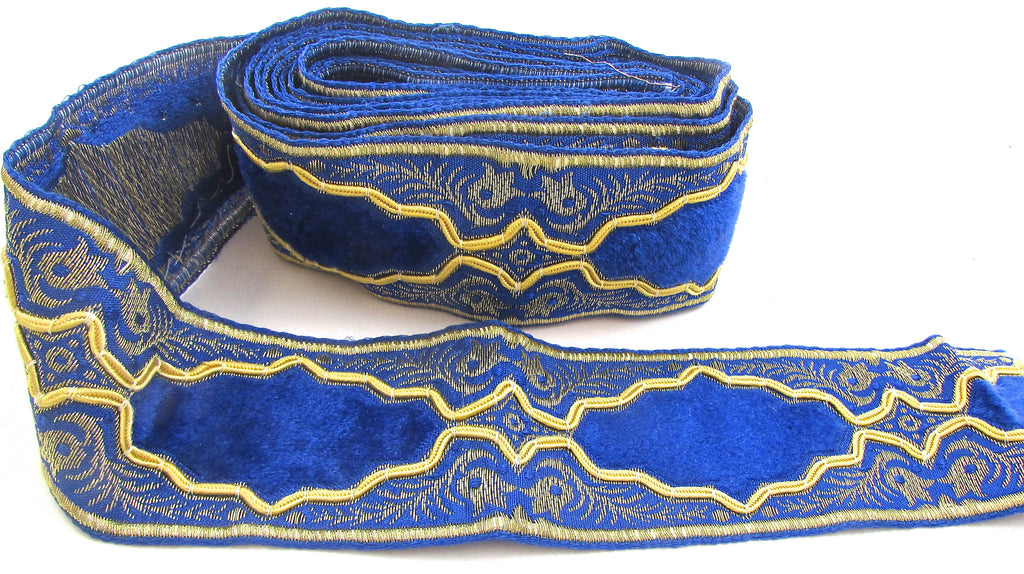"Trim Blue Velvet with Metallic Gold Thread 3 yards approx. 2"" wide"