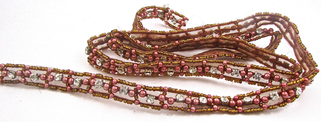 "Trim With Bronze Beads and Rhinestones 39"" Remnant .5"" Wide"