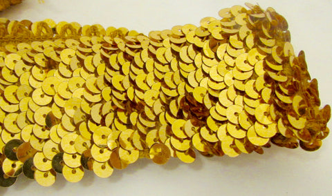 Trim Stretchy Gold Sequins one yard Remnant 2""