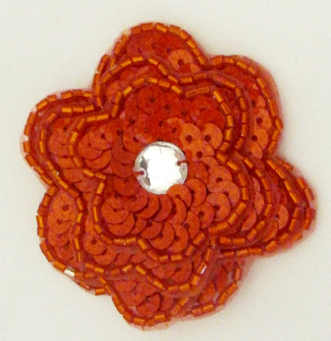 Red Laser Sequin Flowers 4 Layers of Petals and large Rhinestone  Two Sizes