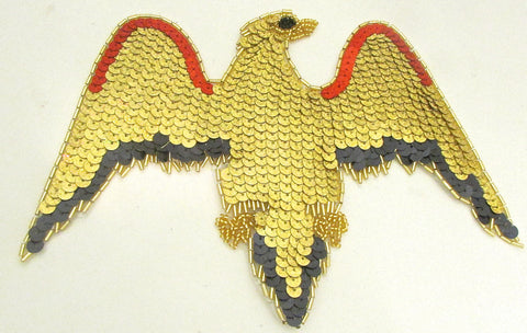 "Eagle with Gold Black Red Laser Sequins and Beads 6"" x 8.5"""