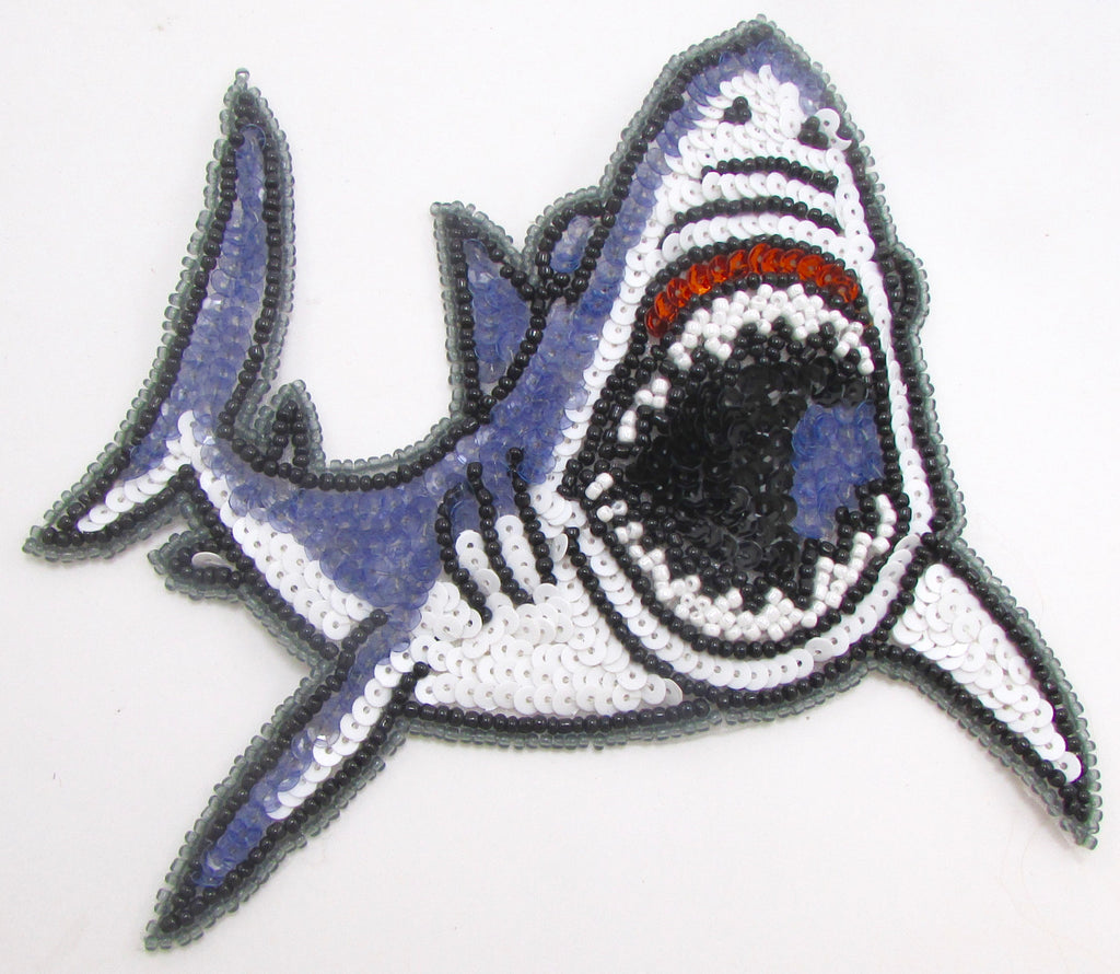 "Shark with Multi-Colored Sequins and Beads 5.5"" x 6"""