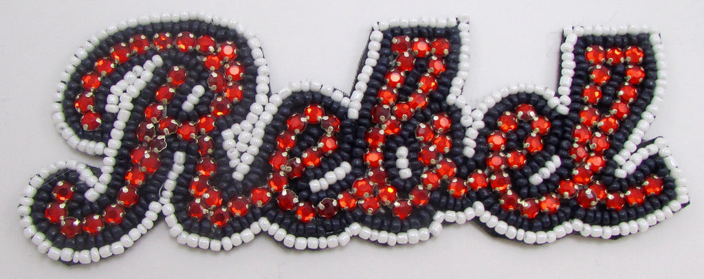 "REBEL Word with Red Rhinestones, Black and White Beads on Felt Backing 2"" x 5.5"""