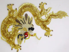 "Dragon Large Gold with Sequins and Beads 7.5"" x 12"""