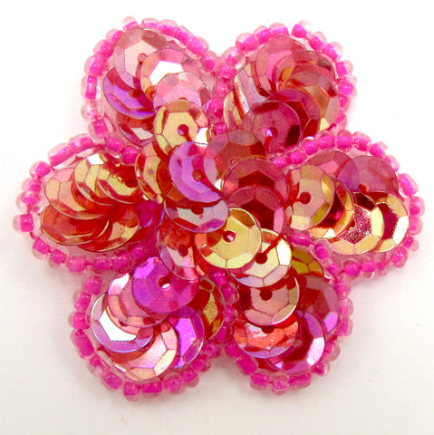 Flower Brilliant Sweet Fuchsia Pinkish Sequins and Beads 1.5""