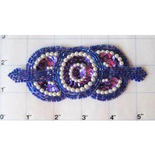 Designer Motif Triple Circle Purple  5""