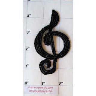 "Treble Clef with Black Sequins and Beads 7"" x 3"""