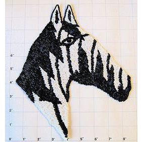 "Zebra Head Beaded in Black and White Beads 9"" x 8"""