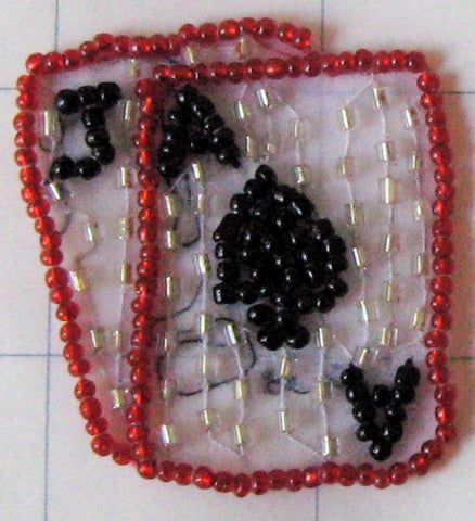 "Ace/Jack (Tiny) Beaded Applique w/ Silver Black Red Beads 2"" x 1.5"""