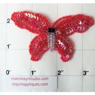 "Butterfly Red 3"" x 2"""