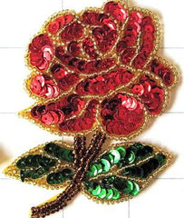 "Flower Pair or Single  Red Rose Sequin Beaded 3.5"" x 2.5"""