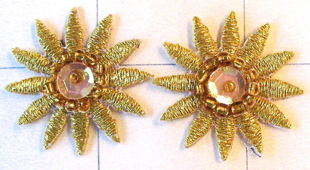 Star Shaped Flower Pair with Gold Thread  Embroidered 1""