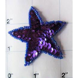 Star Purple Sequins Moonlight Beads 2""