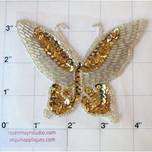 "Butterfly With Gold Sequins and Silver Beads 4"" x 3"""