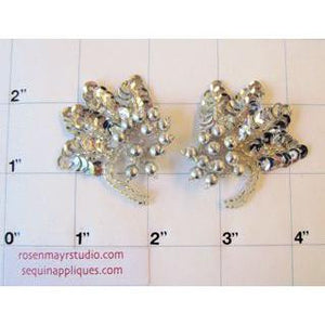 Epaulet Pair with Silver sequins and Beads