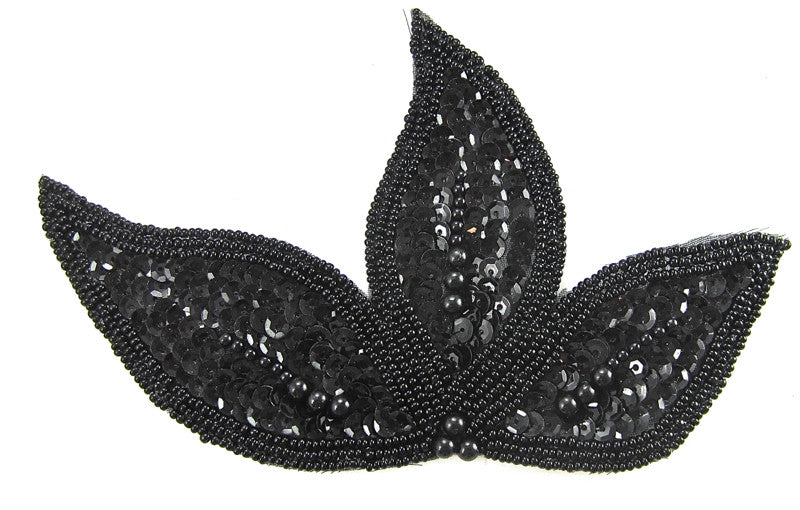 "Leaf Black with Black Beads and Sequins 4"" x 7"""