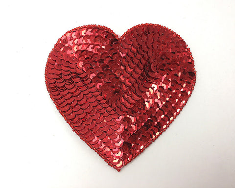 "Heart in Red Sequins and Beads Two Sizes,  5"" and 6"""