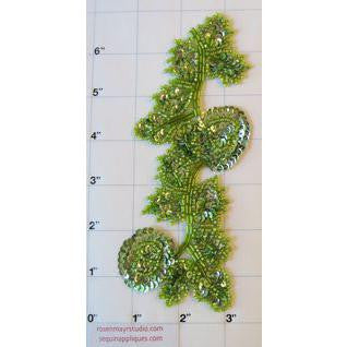"Flower Vine Lime Green Sequins and Beads 6.5"" x 2.5"""