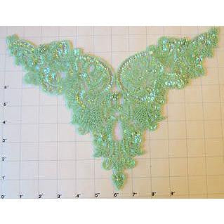 "Designer Motif Bodice with Lite Lime Green Iridescent Sequins and Beads 9"" x 12"""