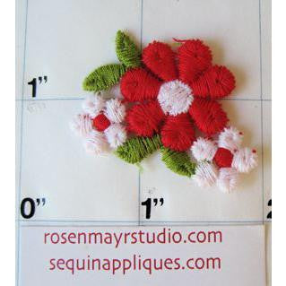 Flower Red and White Embroidered 1/2""