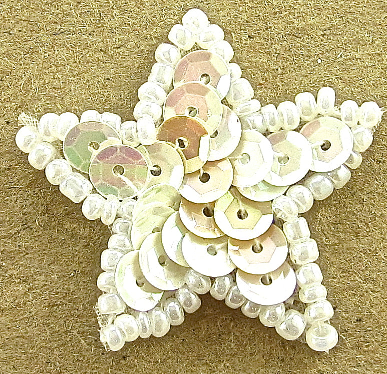 Star China White with White Beads - a little under an 1""