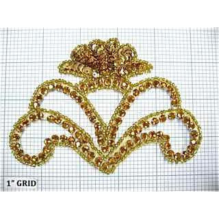 "Designer Motif with Gold Raised Sequins and Gold Beads 3.5"" x 5"""