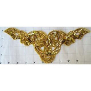 "Designer Motif Flower with Gold sequins and Beads and Rhinestones 4"" x 10.5"""