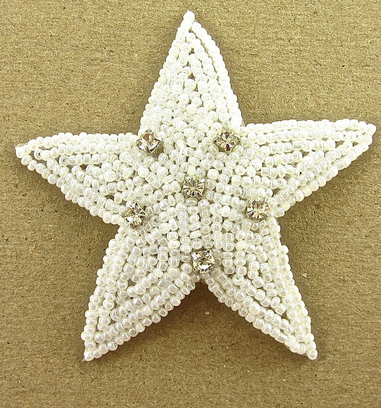 Star White Beaded with  Rhinestones 3""