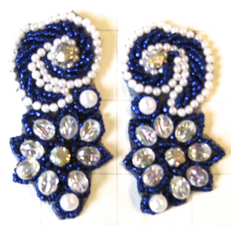 "Flower Motif with Blue and White Beads 2.5"" x 1"""