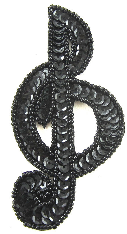 "Treble Clef Black Sequins and Beads 4"" x 2"""