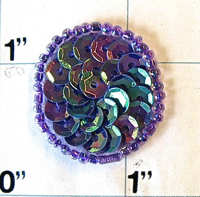 Circles and Dots Purple with Lite Purple Trim 1""