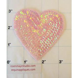 Hearts Light Pink Iridescent 3""