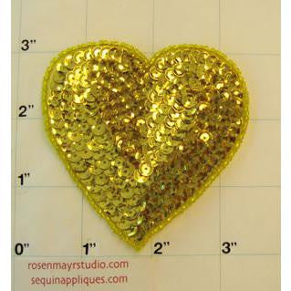 Heart with Gold Cupped Sequins and Beads 3""