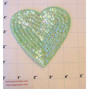 "Heart Iridescent Lime  in 2 Size Variants, 3"" & 4"""